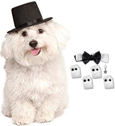 Charmed Formal Black Satin Bow Tie Tux Collar with Cuffs and Top Hat - Daisey's Doggie Chic
