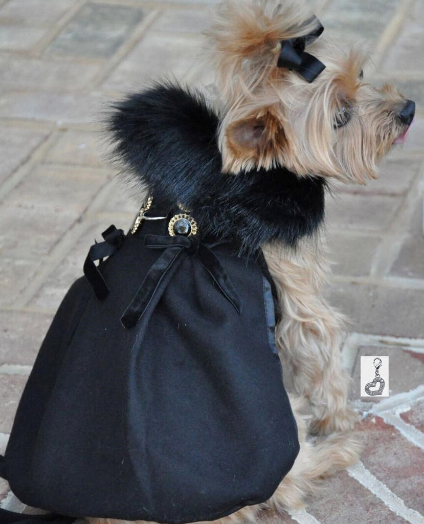 Wool Fur Collar Victorian Harness Jacket with Matching Leash in color Black/Ebony - Daisey's Doggie Chic
