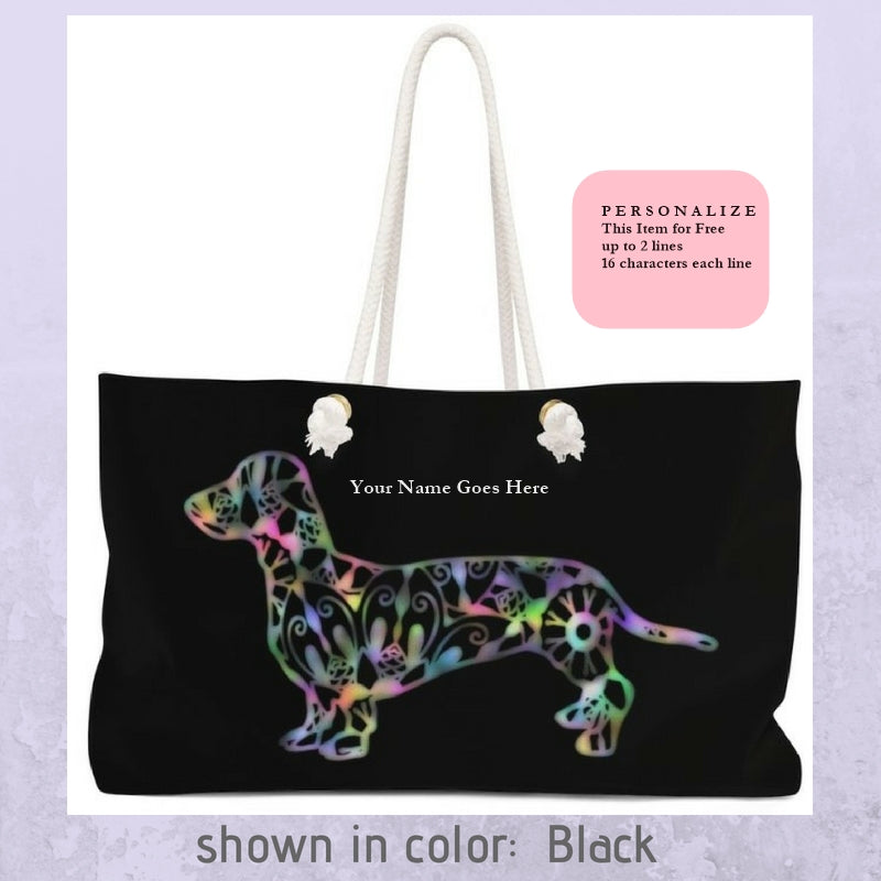 A Dachshund Weekender Bag - Color Black - Oversized Tote - Free Personalization - Daisey's Doggie Chic