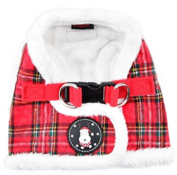 Blitzen Quilted Plaid Jacket Vest Harness - Color Holiday Red Plaid - Daisey's Doggie Chic