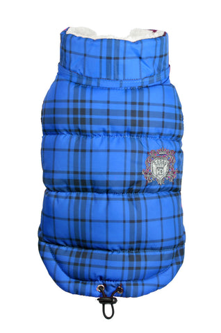 Shearling Puffer Vest Jacket in Color Blue Plaid - Daisey's Doggie Chic - 1