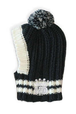 Crown Rib Knit Hat w/PomPom for Dogs in color Gray - Daisey's Doggie Chic