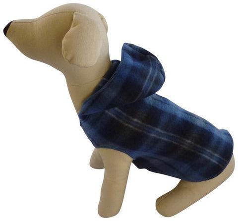 Cozy Denim Plaid Fleece Hoodie Pullover Tank - Daisey's Doggie Chic