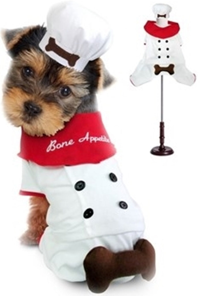 Bone Appetite Chef Uniform - Comes With Chef Theme Charm -  Dog Costume - Daisey's Doggie Chic