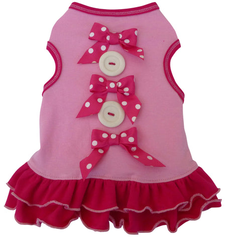 """Buttons & Bows"" Skirted Tank Dress in color Pink - Daisey's Doggie Chic"