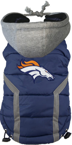 Denver BRONCOS  NFL dog Jacket (Puffer Vest) in color Blue - Daisey's Doggie Chic