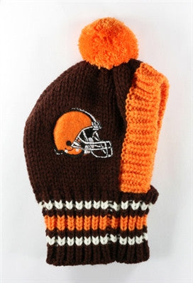 Cleveland BROWNS NFL Official Licensed Ski Hat for Dogs in color Dark Brown/Orange - Daisey's Doggie Chic - 1
