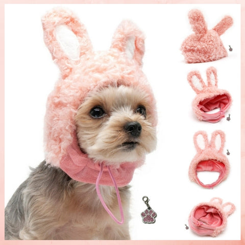 Plush Pink Bunny Hat with Bunny Ears- Includes Charm Accessory - Pet Sizes XS to XL - Daisey's Doggie Chic