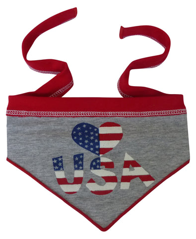 Love U.S.A. Heart Bandana Scarf in color Red/White/Blue - Daisey's Doggie Chic