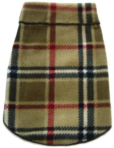 Cozy Classic Camel Blanket Plaid Fleece Pullover Tank - Daisey's Doggie Chic