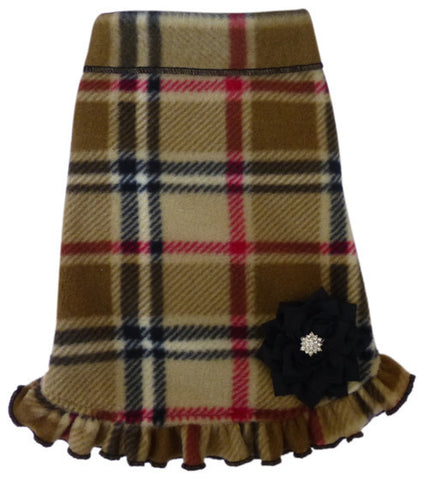 Cozy Classic Camel Blanket Plaid Fleece Pullover Ruffled Tank Dress w/Flower Pin - Daisey's Doggie Chic