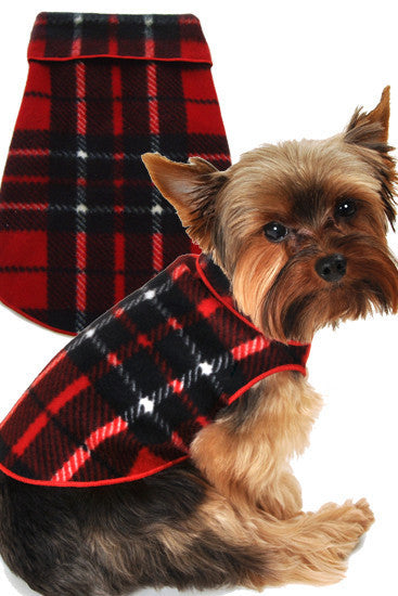 Cozy Holiday Classic Camel Blanket Red Plaid Fleece Pullover Tank - Daisey's Doggie Chic