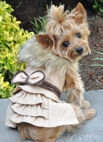 Classic Camel Wool & Faux Minky Fur Harness Jacket with Matching Leash - Daisey's Doggie Chic