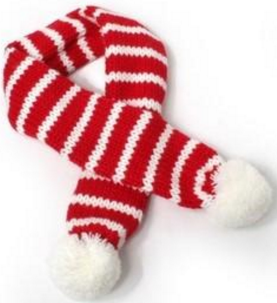 Candy Cane Striped Knit PomPom Scarf for Dogs Available in 4 Colors - Daisey's Doggie Chic