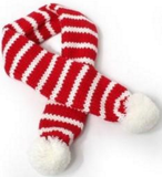 Candy Cane Striped Knit Scarf for Dogs Color Red/White - Daisey's Doggie Chic