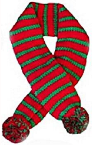 Candy Cane Striped Knit Scarf for Dogs Color Red/Green - Daisey's Doggie Chic