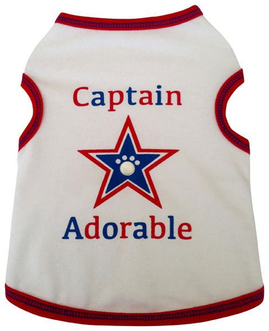 Captain Adorable Star Spangled Tank in color Red/White/Blue - Daisey's Doggie Chic