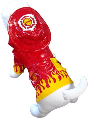 Fire Chief Raincoat with attached Helmet Hoodie in color Red/Yellow - Daisey's Doggie Chic