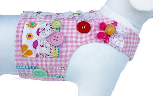 Gingham,Daisies & Buttons Vest Harness w/Leash in color Pink - Daisey's Doggie Chic