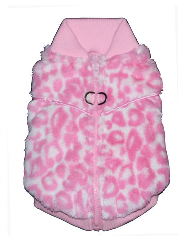 Cheetah Mink Sweater Vest in color Pink - Daisey's Doggie Chic