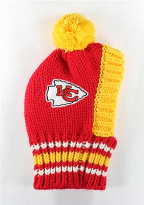 KC CHIEFS NFL Official Licensed Ski Hat for Dogs in color Red/Yellow - Daisey's Doggie Chic