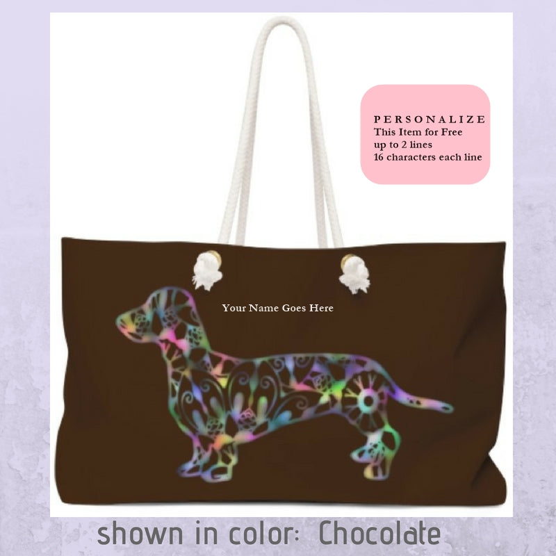 A Dachshund Weekender Bag - in Color Chocolate - Oversized Tote - Free Personalization - Daisey's Doggie Chic