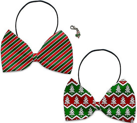 Christmas Wrap - Holiday Themed Bowtie 2-Pack set with Charm Accessory for Dogs or Cats - Daisey's Doggie Chic