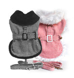 Doggie Design Plaid Minky Fur Harness Jacket with Matching Leash - 8 colors - Daisey's Doggie Chic