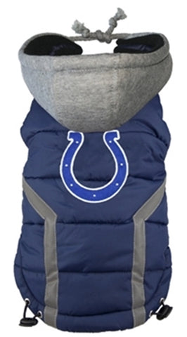 Indianapolis COLTS NFL dog Jacket (Puffer Vest) in color Navy - Daisey's Doggie Chic