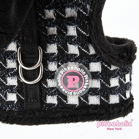 "Pinkaholic NY ""Cosmo Pinka""  Metallic Houndstooth Wrap Hooded Harness Vest in color Black/White - Daisey's Doggie Chic"