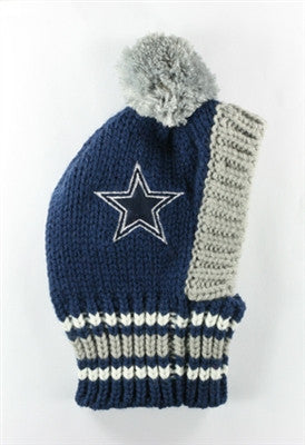 Dallas COWBOYS NFL Official Licensed Ski Hat for Dogs in color Navy - Daisey's Doggie Chic - 1