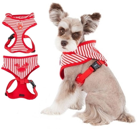 Crabby Beach Party Red Hooded Choke-Free Halter Harness with Smart Tag - Daisey's Doggie Chic - 1