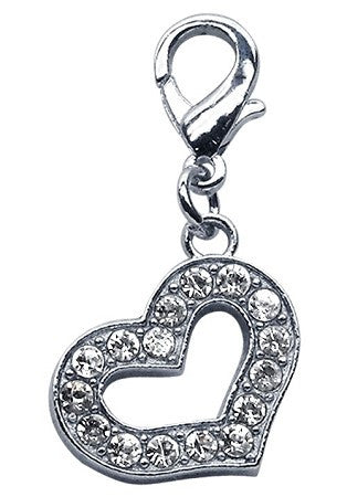 SweetHeart Heart Shaped Clear Rhinestone Clip Charm - Daisey's Doggie Chic