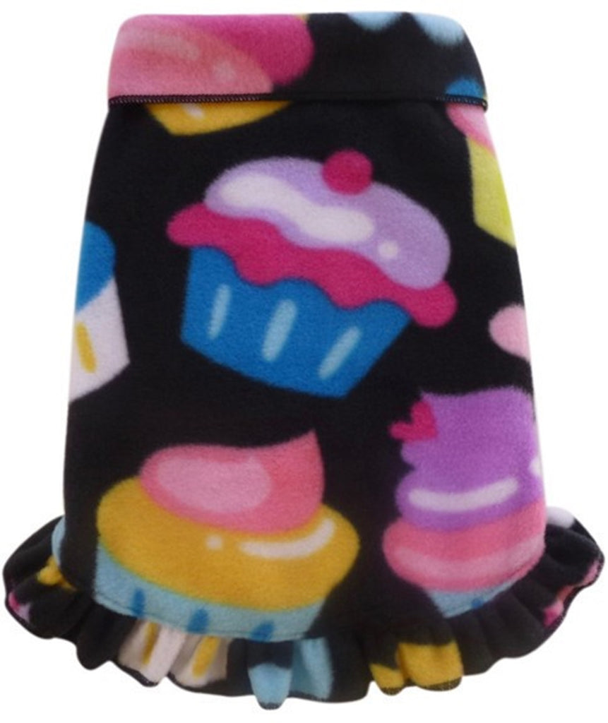 Cozy Fleece Cupcakes Pullover Ruffled Skirt Tank Dress - in Black Multi - Daisey's Doggie Chic - 1