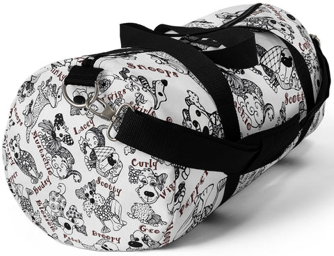 Custom Art Duffle Bag - BW Patchwork Dogs with Cutesy Names - Sizes S or L - Daisey's Doggie Chic