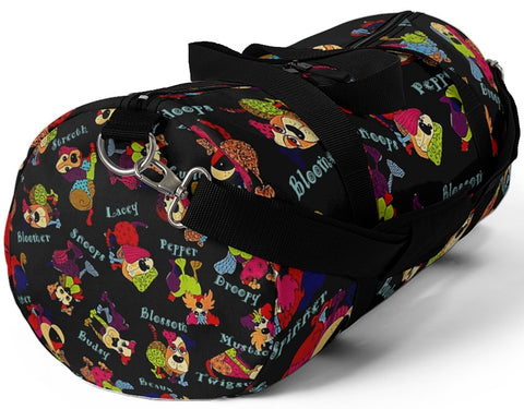 Exclusive Dog Art Duffel Bag Colorful Patchwork Dogs with Cutesy Names - Gym Bags - Sizes S or L -  personalize - Daisey's Doggie Chic