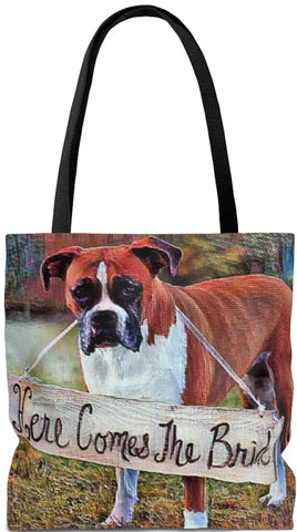 Custom Art Tote - Here Comes the Bride - Boxer - Dog - Weekender Bags - Daisey's Doggie Chic