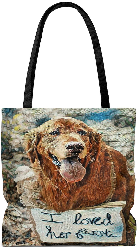 Exclusive Custom Dog Art Tote - I Loved Her First - Golden Retriever -Choice of Tall Tote or oversized Weekender Bags - personalize - Daisey's Doggie Chic