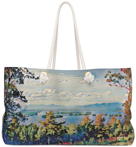 Exclusive Custom Art Weekender Tote Bag features View of Lake - Oversized Carry All Bags - personalize - Daisey's Doggie Chic
