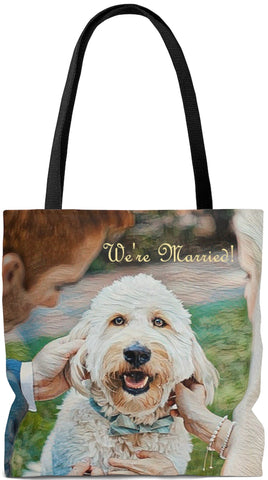 Custom Art Tote -We're Married Bride and Groom with Dog - Wedding Themed - oversized Weekender Bags - Daisey's Doggie Chic