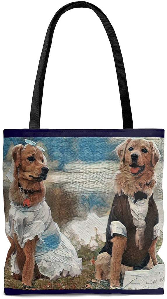 Exclusive Custom Dog Art Tote - I Love you - Bride & Groom - Golden Retrievers - Dogs - Choice of Tall Tote or oversized  Weekender Bag - personalize - Daisey's Doggie Chic