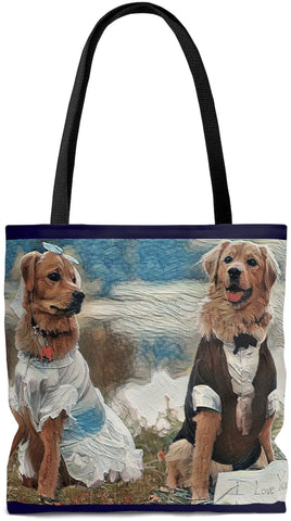 Custom Art Tote - I Love you - Bride & Groom - Golden Retrievers - Dogs - oversized  Weekender Bags - Daisey's Doggie Chic