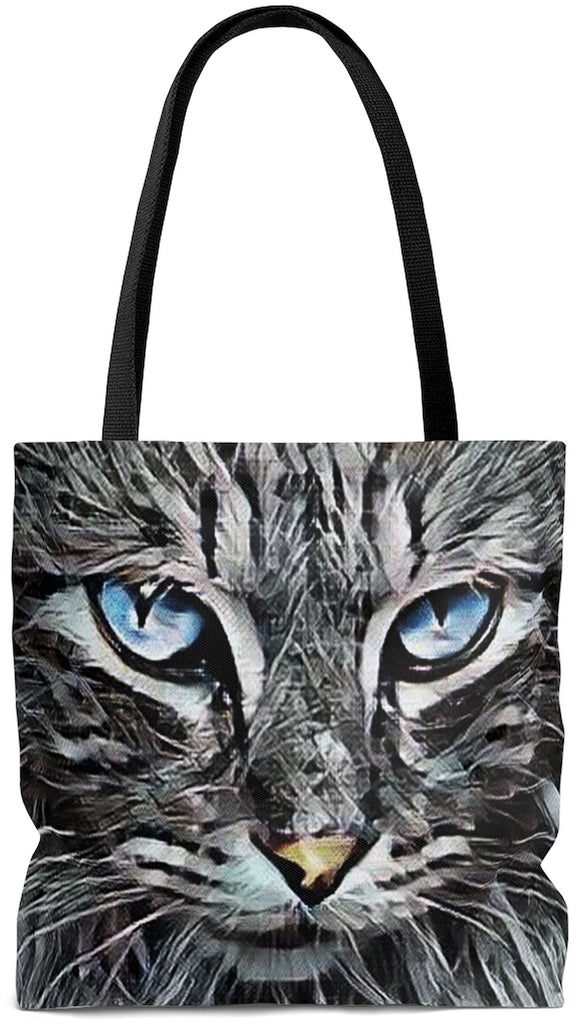 Exclusive Cat Art Tote - Metallic Wild Cat Eyes Angora Cat  - Choice of Tall Tote Bags or oversized Weekender Bag - personalize - Daisey's Doggie Chic