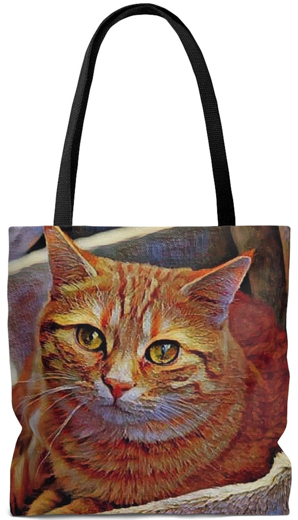 Exclusive Cat Art Tote - Orange Tabby Cat Red Mackerel - Choice of Tall Totes or oversized Weekender Bags - personalize - Daisey's Doggie Chic