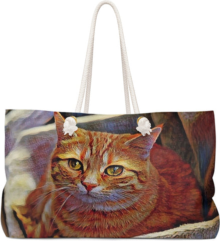 Custom Art Tote - Orange Tabby Cat - Red Mackerel - oversized Weekender Bags - Daisey's Doggie Chic