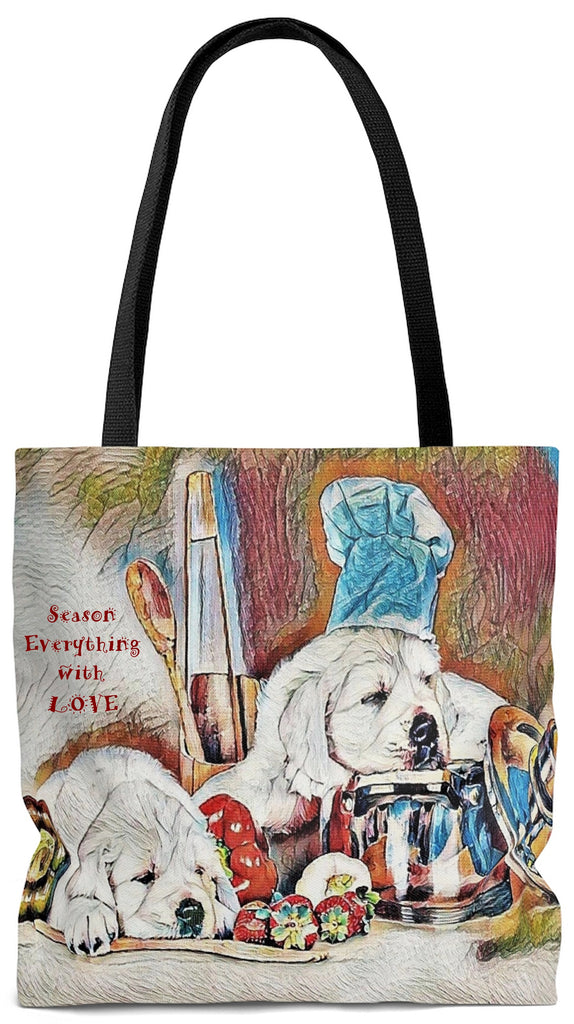Exclusive Pet Art Tote - Candy Les Bones Chef -Season Everything with LOVE - Dogs in the Kitchen - Choice of Weekender or Tall Tote Bags - personalize - Daisey's Doggie Chic