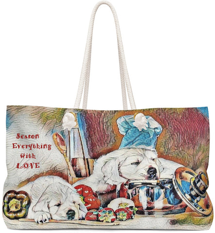 Custom Art Tote - Candy Les Bones Chef -Season Everything with LOVE - Dogs in the Kitchen - oversized Weekender Bags - Daisey's Doggie Chic