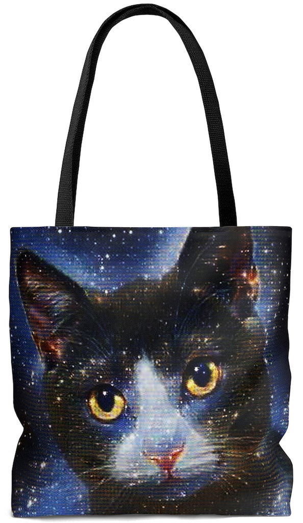 Exclusive Cat Art Tote Bag  - Galactic Tabby Cat - Galaxy Stars & Space -  Choice of oversized Weekender or Tall Tote Bags - personalize - Daisey's Doggie Chic