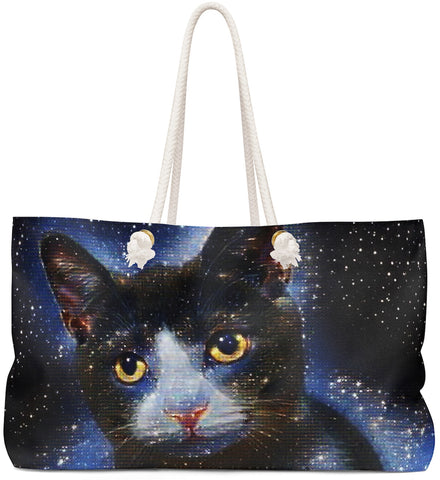 Custom Art Tote  - Galactic Tabby Cat - Galaxy Stars & Space - Cat Art oversized Weekender Bags - Daisey's Doggie Chic