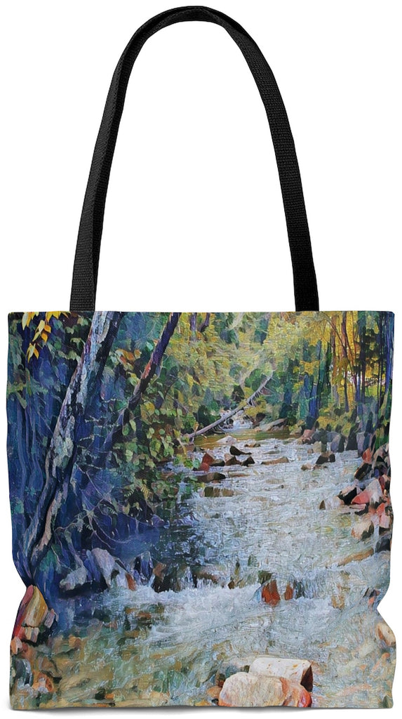 Exclusive Custom Art Tote Bag - Basin Creek Trail - Art - Painting - oversized Weekender Bags - personalize - Daisey's Doggie Chic